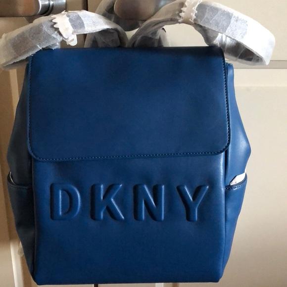 be5b6062e8 NWT- DKNY Blue Leather backpack